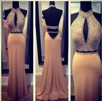 cream prom dress diamonds studs shiny dress long prom dress open back long dress