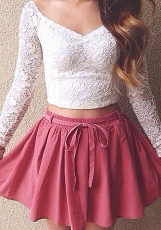 style bra bralette white crop tops summer outfits top classy hot holiday season winter outfits knitwear t-shirt white t-shirt crochet lace up streetwear streetstyle corset top bustier coral skater skater skirt circle skirt long sleeves party outfits short lace top