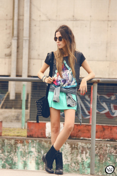 fashion coolture t-shirt skirt jacket bag sunglasses shoes