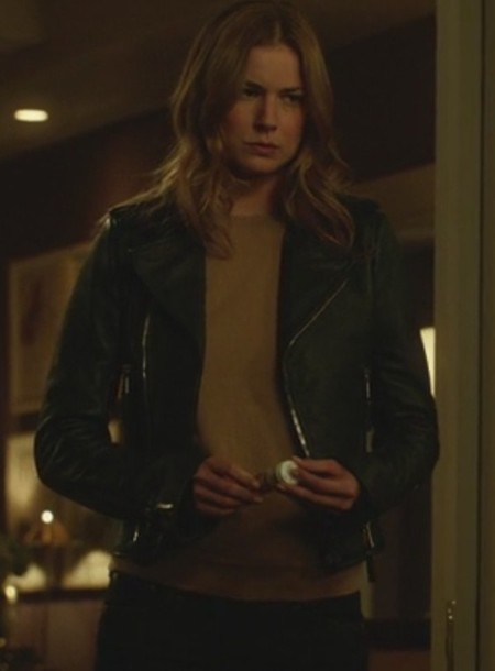 jacket revenge emily thorne emily vancamp leather jacket jeans