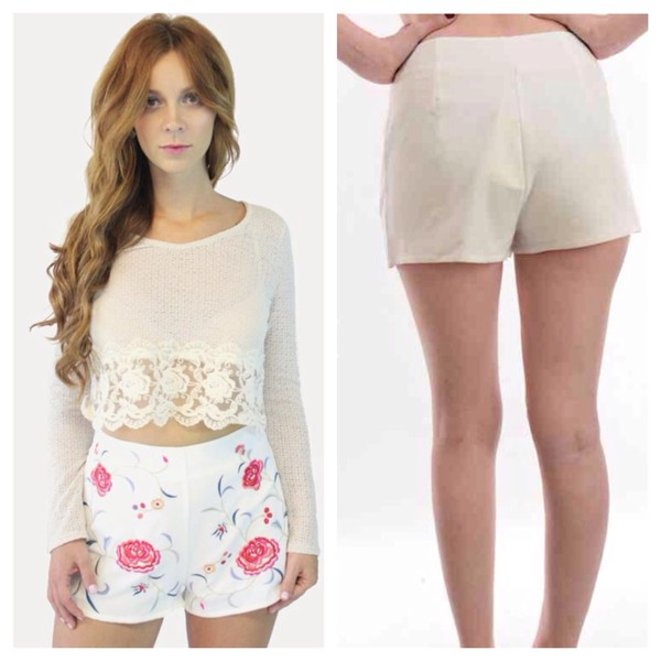shorts white shorts lace hotpants floral shorts with crop tops cute outfits festival festival chic fashion floral