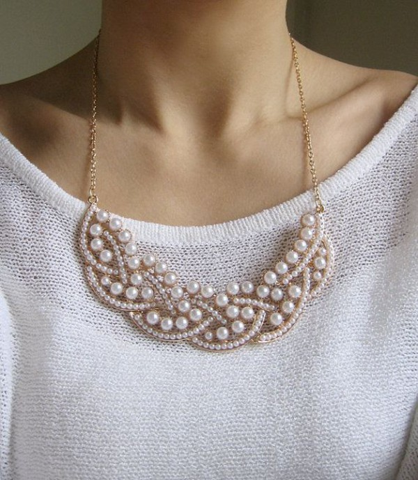 jewels necklace pearl statement necklace