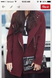 coat,burgundy  coat,shoes,dark red,zip,winter coat,burgundy coat,jacket,oxblood,winter outfits,burgundy,bordeaux red wine,bordeau coat