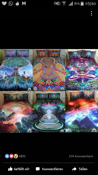 Home Accessory Psychedelic Bedroom Colorful Hippie Goa Home Decor Bedding