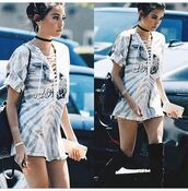 dress,madison beer,black dress,white,grey,cool,top,lace top,t-shirt,tunic,tunic dress,instagram,lace up,boots,choker necklace,over the knee boots