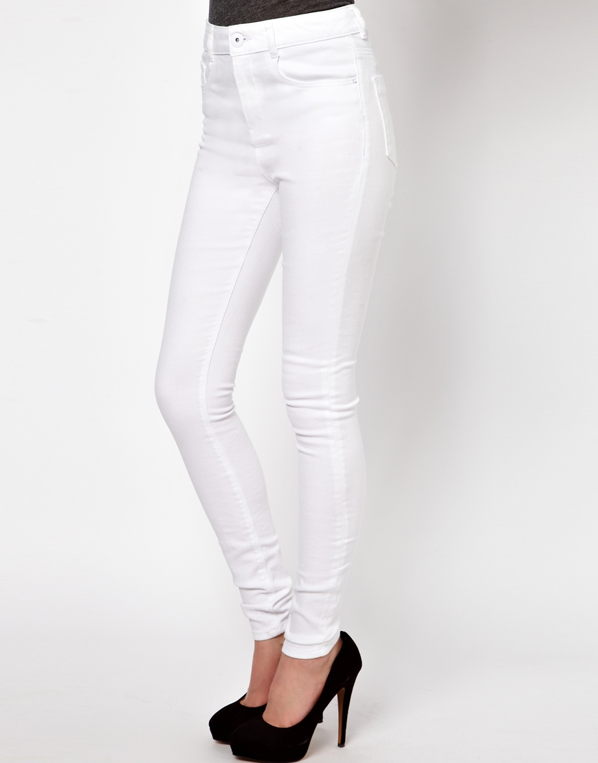 ASOS Ridley High Waist Ultra Skinny Jeans in White at asos.com