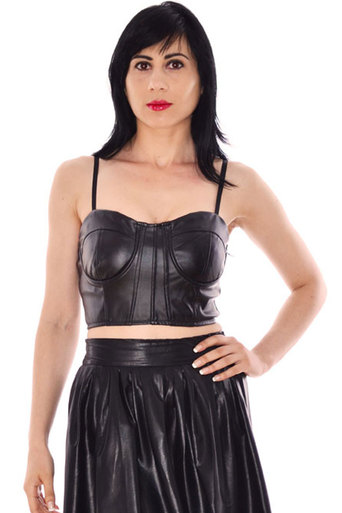 Ladies Louise Leather Look Bralet | Pop Couture