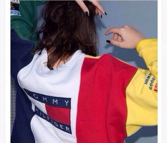 sweater jumper yellow red blue and green tommy hilfiger