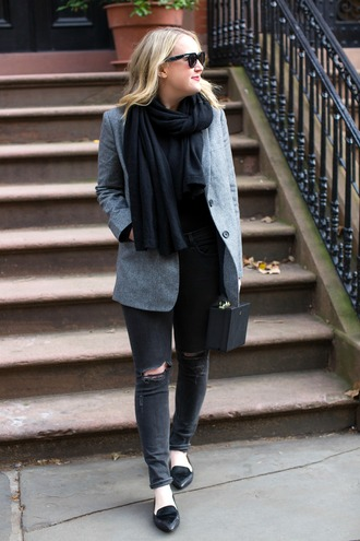 wit&whimsy blogger jacket scarf jeans shoes bag jewels coat fall outfits loafers black bag grey jacket