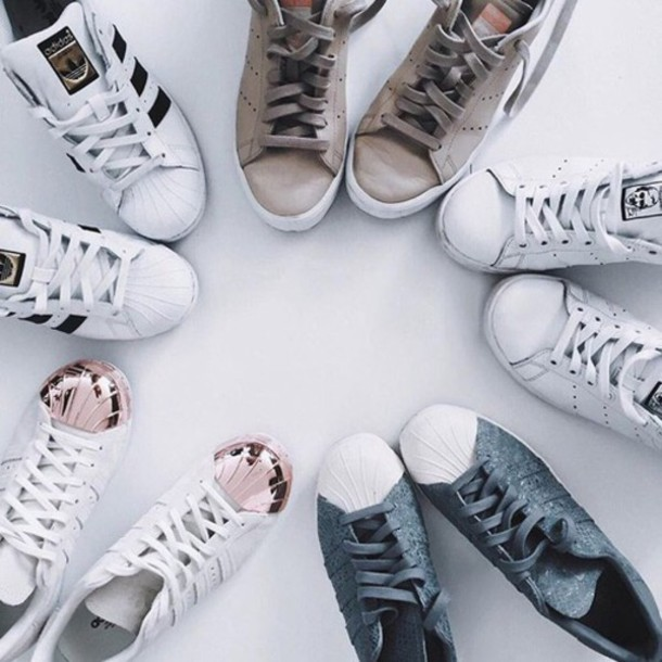 555d573f2b1a shoes adidas adidas superstars adidas shoes sneakers grey sneakers grey  white tennis shoes rose gold cute