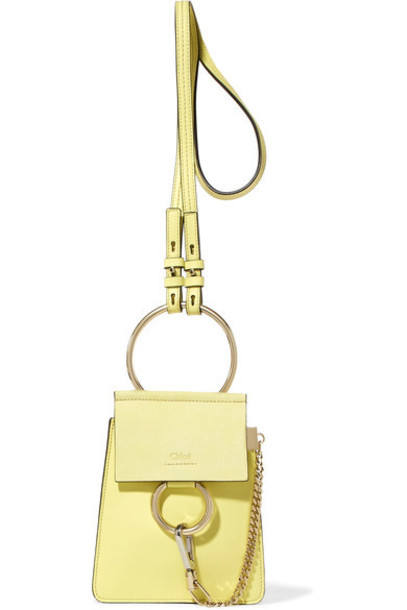 mini bag shoulder bag leather suede yellow