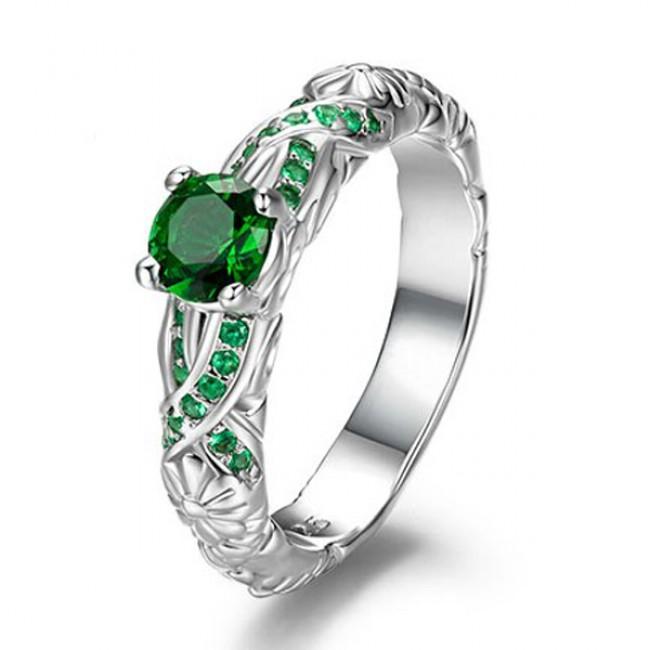 unique flower and vine designe 925 sterling silver emerald