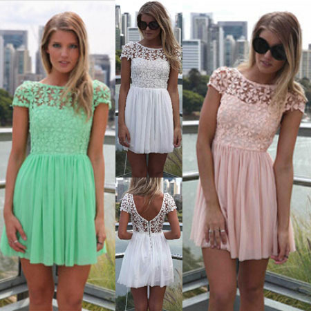 Aliexpress.com : buy 2014 fashion women summer dress crochet embroidered patchwork girl pleated tulle chiffon lace backless sexy party club dresses from reliable dresses forever suppliers on blue sky 133944