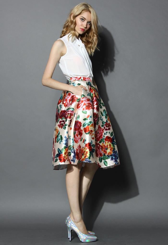 Blossom Age Floral Midi Skirt - Retro, Indie and Unique Fashion