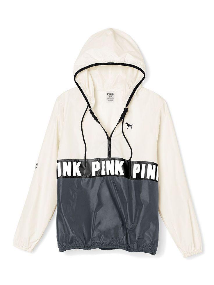 Secret PINK Anorak Half Zip Pullover Hoodie Jacket White XS/Sm