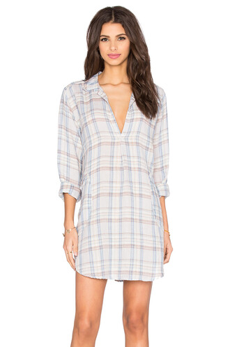 dress tunic dress plaid blue