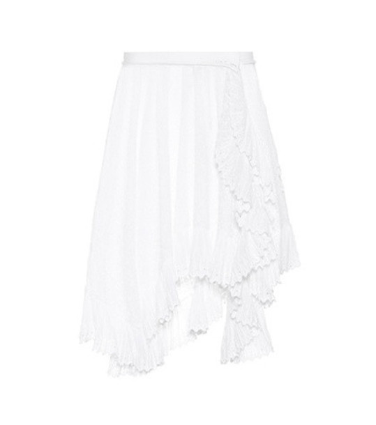 Isabel Marant Embroidered cotton miniskirt in white