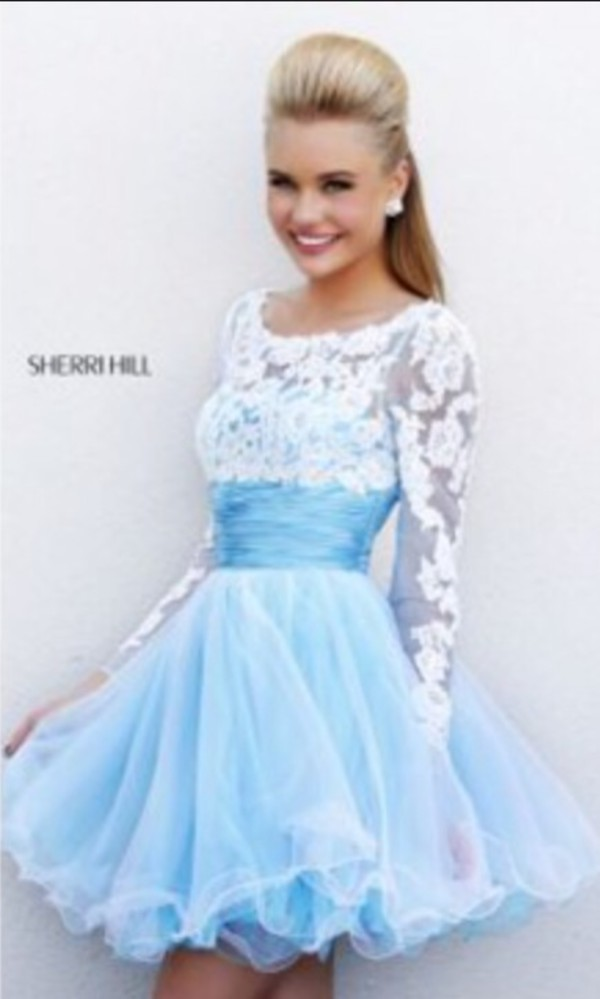 light blue dress with white lace on selves and dress dress