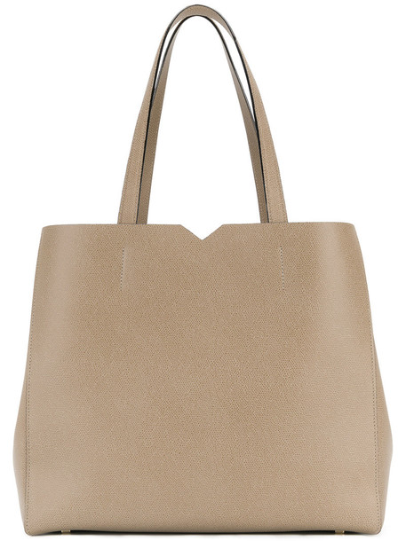 Valextra - shopper tote - women - Leather - One Size, Nude/Neutrals, Leather