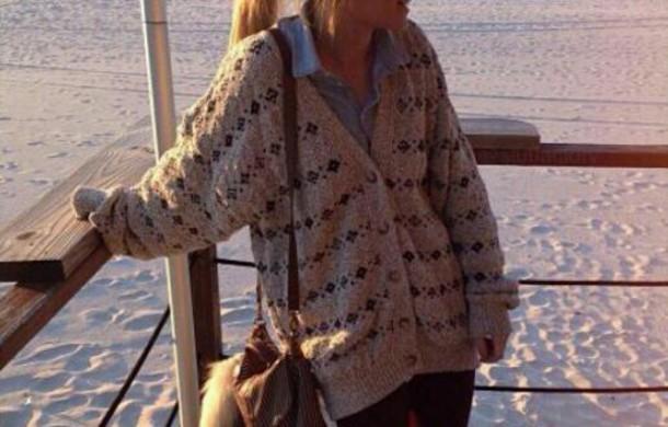cardigan sweater brown sweater printed sweater winter sweater