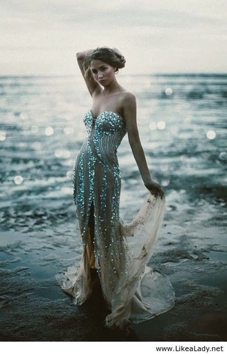 dress prom dress bustier dress silver sequins sparkle fishtail mermaid pll ice ball couture classy