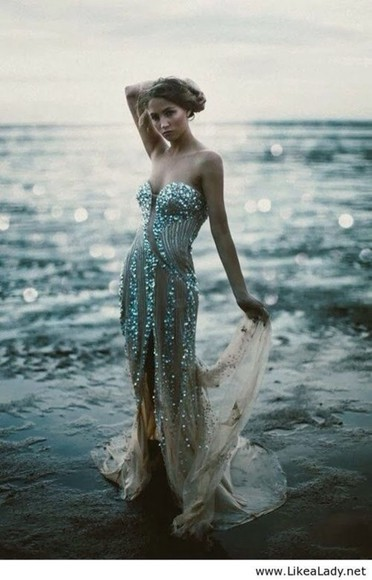 dress corset sparkle silver fishtail mermaid sequin