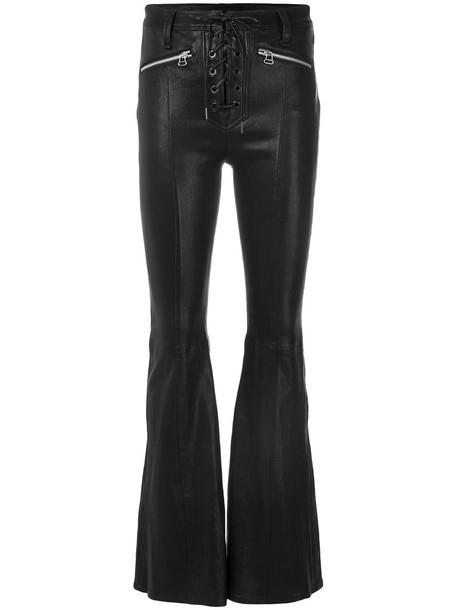 cross women spandex criss cross lace cotton black pants