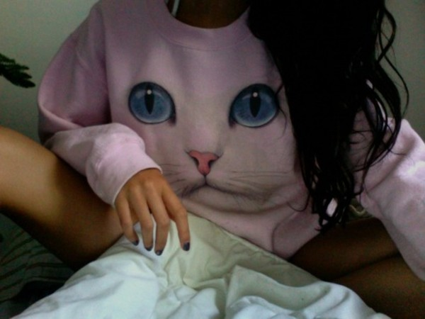 shirt cute clothes jumper sweater cats pink pale pretty tumblr cats sweatshirt cat sweatshirt