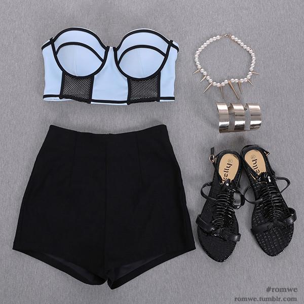 Black high waisted stretch shorts - denim shorts - shorts - women