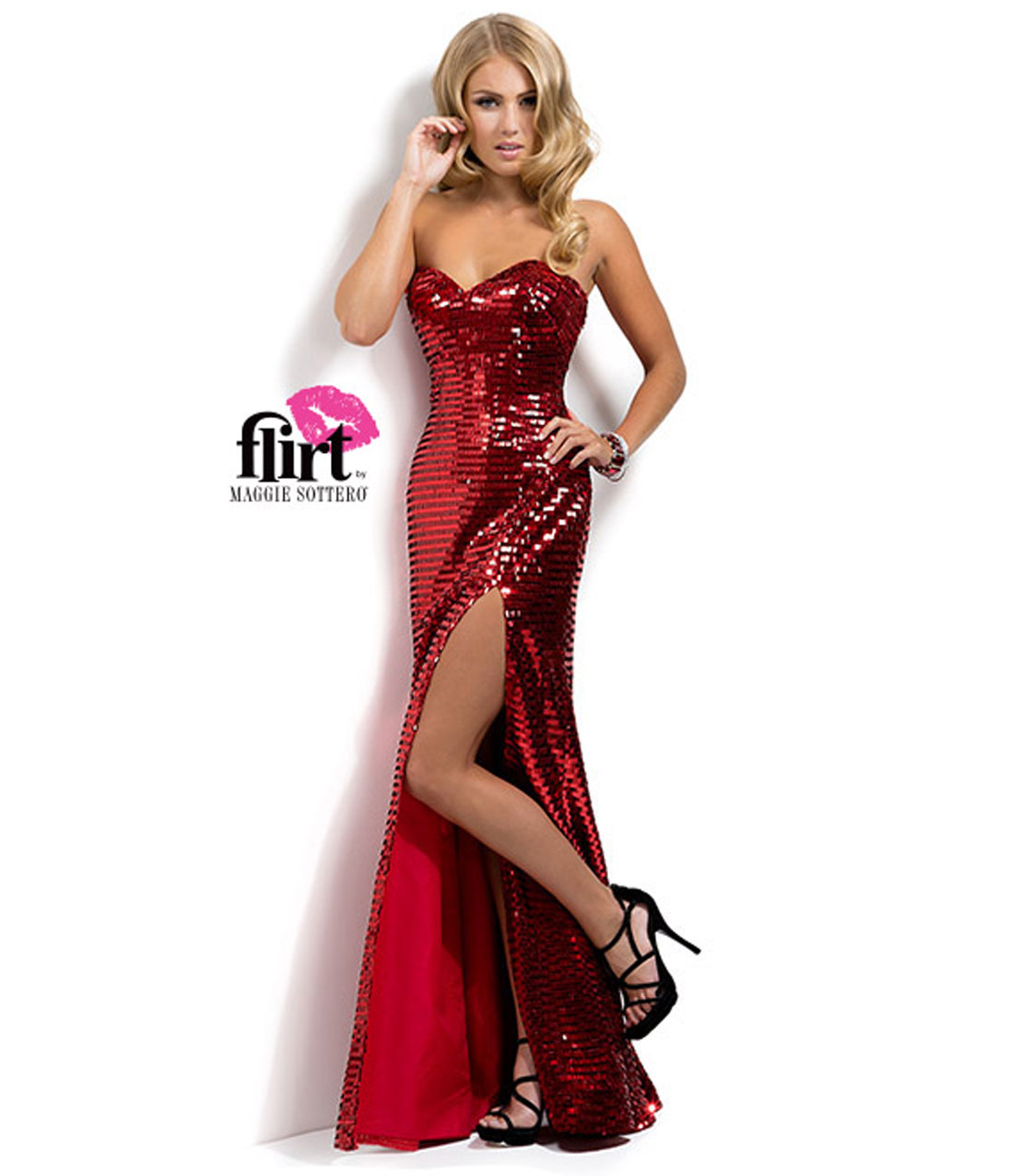 0e12e3e1489 Flirt by Maggie Sottero 2014 Prom Dresses - Ruby Red Sequin Sheath Prom Gown  - Unique Vintage - Prom ...