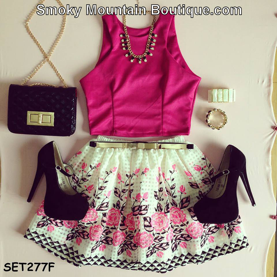 Matching Top & Skirt Set - Pink Top with White, Pink and Black Floral Skirt 277F - Smoky Mountain Boutique