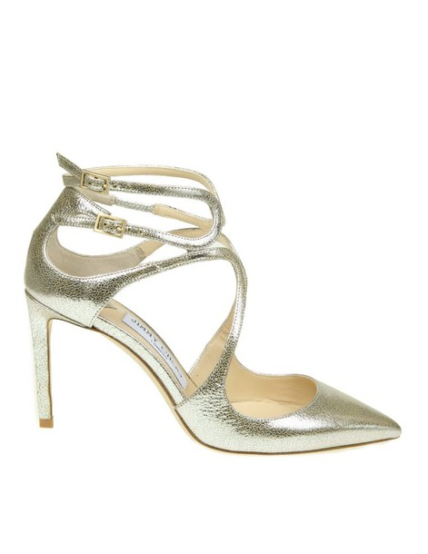 Jimmy Choo leather champagne shoes
