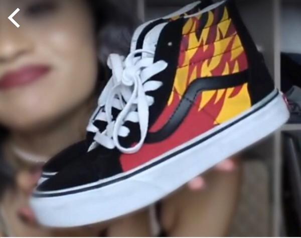 Shoes sneakers heels high heels boots flats vans thrasher fire sk8-hi black orange ...