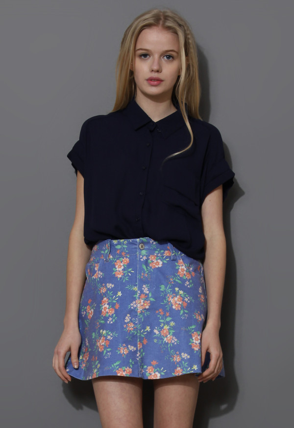 blouse pockets relaxed chiffon shirt navy