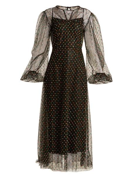 EMILIA WICKSTEAD dress lace dress embroidered lace black