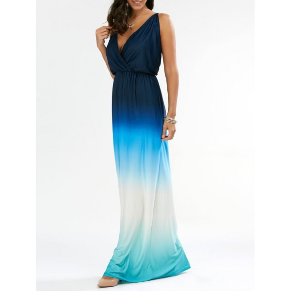 dress maxi dress backless dress blue ombre dress sleeveless dress plunge dress