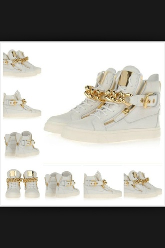 white gold hightops swaggy trainers