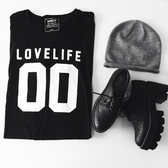 t-shirt nyct clothing top love life oversized t-shirt graphic tee beanie oxfords