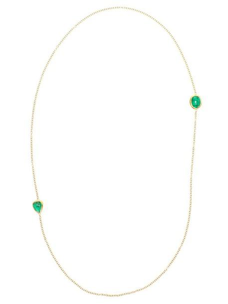 Ram women necklace gold green jewels