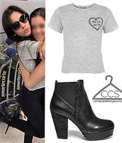top,t-shirt,grey,make the boys cry,camila cabello,Fifth Harmony,topshop,grey t-shirt,black booties