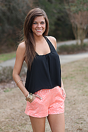 The Mint Julep Boutique :: New Arrivals :: Floral Lace Print Shorts, Coral