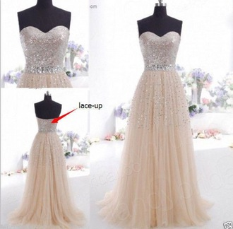 champagne dress champagne prom dress sequin dress sequins belt belted dress long prom dress long dress strapless