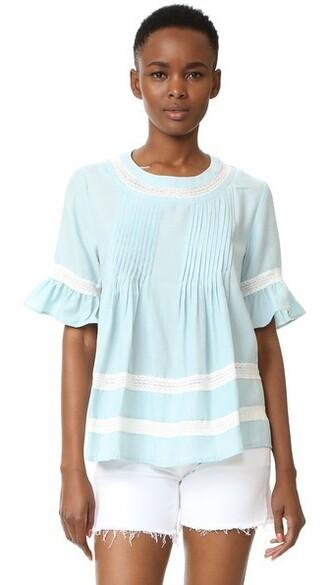 blouse boho light lace blue light blue top