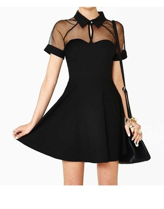 dress black mesh cut-out skater tunic mesh tunic above knee mini black dress transparent tunic top short dress