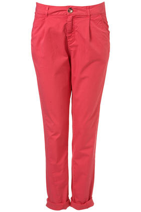 Bright pink chino trousers