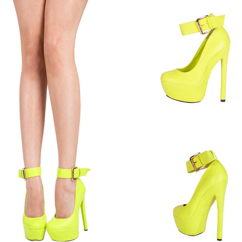 Green Yellow Ankle Strap High Heel Platform Stiletto Womens Pump
