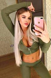 jumpsuit,green,army green,dark green,dark,zipper hoodie,hoodie,green hoodie,crop,cropped,cropped hoodie,sexy,sexy outfit,two-piece,sexy tracksuit,casual,street chic,sportswear,sweatpants,sweats,green sweatpants,tight,tights,fit,fitness,yoga,bodycon,moraki,olive green,crop tops,streetstyle,streetwear,street,callies street chic,business casual,workout,workout leggings,fitness pants,yoga pants