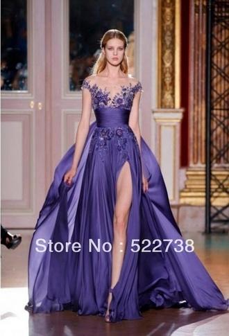 dress purplee sleeves purple promdress prom dress purple dress formal dress long evening dress slit dress long prom dress