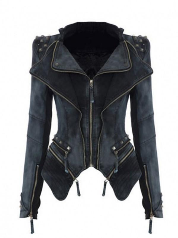 jacket black jacket studded shoulders black steampunk coat teal amy pond double breasted