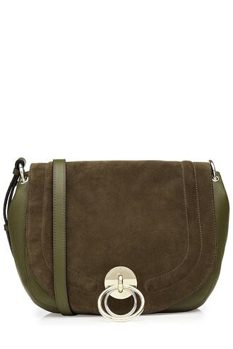 bag shoulder bag leather suede green
